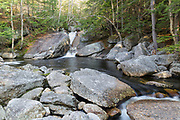 Cascade and pool along Harvard Brook in Lincoln, New Hampshire during the spring months. The Georgiana Falls Path passes by this small pool.
