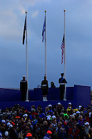 Lowering the American Flag at the end of the Awards ceremony during the Ryder Cup at Gleneagles Golf Club on Sunday 28th September 2014.<br /> Picture:  Thos Caffrey / www.golffile.ie