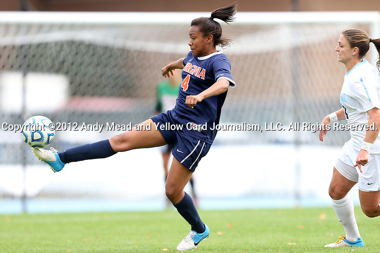 28 October 2012: Virginia's Morgan Stith (4). The University of North Carolina Tar Heels played the University of Virginia Cavaliers at Fetzer Field in Chapel Hill, North Carolina in a 2012 NCAA Division I Women's Soccer game. Virginia defeated UNC 1-0 in their Atlantic Coast Conference quarterfinal match.