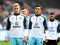 Burnley's Ben Mee during the pre-match warm-up <br /> <br /> Photographer Ashley Crowden/CameraSport<br /> <br /> The Premier League - Swansea City v Burnley - Saturday 10th February 2018 - Liberty Stadium - Swansea<br /> <br /> World Copyright &copy; 2018 CameraSport. All rights reserved. 43 Linden Ave. Countesthorpe. Leicester. England. LE8 5PG - Tel: +44 (0) 116 277 4147 - admin@camerasport.com - www.camerasport.com