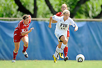 26 September 2010:  FIU's Nicole DiPerna (16) advances the ball in the first half as the FIU Golden Panthers defeated the Arkansas State Red Wolves, 1-0 in double overtime, at University Park Stadium in Miami, Florida.