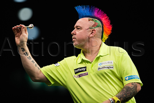 28.04.2016. Barclaycard Arena, Birmingham, England. Betway PDC Premier League Darts. Night 13. Peter Wright in his match against Phil Taylor.