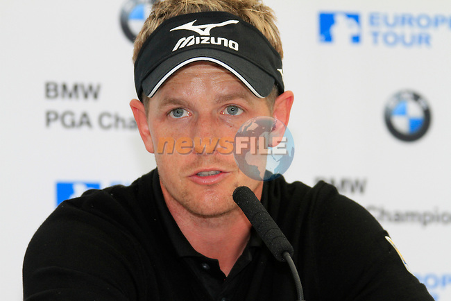 Luke Donald (ENG) in the interview room finishing joint leader at the end of Day 3 of the BMW PGA Championship Championship at, Wentworth Club, Surrey, England, 28th May 2011. (Photo Eoin Clarke/Golffile 2011)