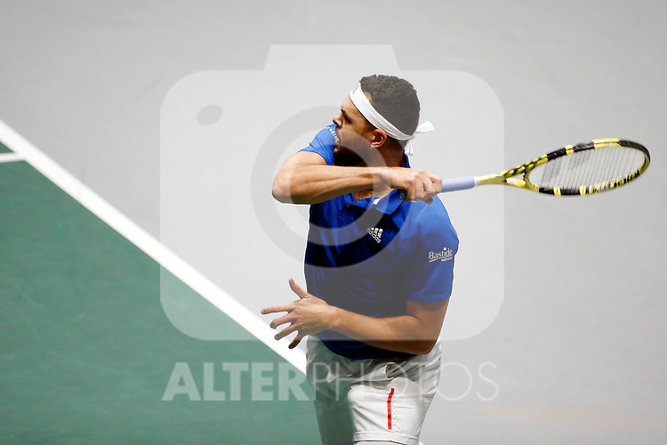 Jo-Wilfried Tsonga of France plays a forehand against Jo-Wilfried Tsonga of France during Day 2 of the 2019 Davis Cup at La Caja Magica on November 19, 2019 in Madrid, Spain. (ALTERPHOTOS/Manu R.B.)