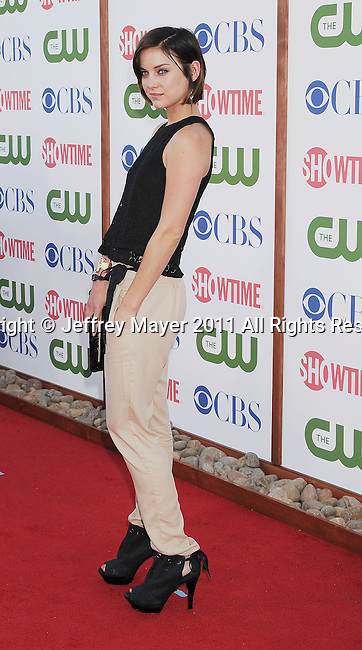 BEVERLY HILLS, CA - AUGUST 03: Jessica Stroup arrives at the TCA Party for CBS, The CW and Showtime held at The Pagoda on August 3, 2011 in Beverly Hills, California.