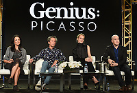 """PASADENA - JANUARY 13: (L-R) Executive Producers Francie Calfo and Brian Grazer, and cast members Poppy Delevingne and T.R. Knight during the """"GENIUS: PICASSO"""" panel at the NATIONAL GEOGRAPHIC portion of the 2018 Winter TCA Press Tour at the Langham Huntington Hotel on January 13, 2018, in Pasadena, California. (Photo by Frank Micelotta/National Geographic/PictureGroup)"""