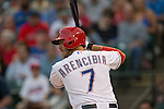 J.P. Arencibia (Rangers),<br /> APRIL 11, 2014 - MLB :<br /> J.P. Arencibia of the Texas Rangers at bat during the baseball game against the Houston Astros at Rangers Ballpark in Arlington in Arlington, Texas, United States. (Photo by Thomas Anderson/AFLO) (JAPANESE NEWSPAPER OUT)