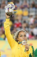 HAMILTON, CANADA, 25.07.2015 - PAN-FUTEBOL -  Monica do Brasil comemora medalha de ouro após ganhar de 4 a 0 da Colombia em partida da final do futebol feminino nos jogos Pan-americanos no Estadio Tim Hortons em Hamilton no Canadá neste sábado, 25. (Foto: William Volcov/Brazil Photo Press)