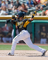 Tony Sanchez (27) of the Salt Lake Bees at bat against the Fresno Grizzlies in Pacific Coast League action at Smith's Ballpark on April 16, 2017 in Salt Lake City, Utah. Salt Lake defeated Fresno 5-4. (Stephen Smith/Four Seam Images)