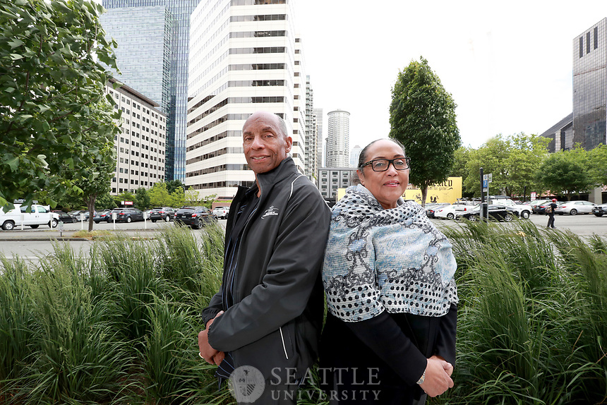 "June 8th 2017 - Seattle University alums, Gregg Alex and his wife Dora ""D"" Krasucki photographed for Seattle University Magazine. The couple run the Matt Talbot Center, a Washington State licensed addiction treatment program that helps serve the homeless, addicted and mentally ill. The center is located in Seattle's Belltown neighborhood."