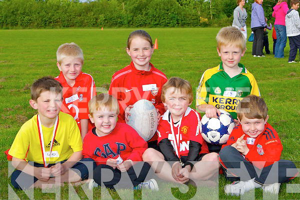 RUGBY/SOCCER: Mixture of sports at the Rock Street/Caherslee Community Games on Friday evening at5 Mounthawk Soccer grounds, Front l-r: Luke Chester54, kevin O'Donoghue, Jack Nagle and Daniel Bowler.Back l-r: Joey nagle, Mollie O'Carroll and Evan Foley.....