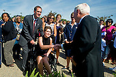 United States Secretary Robert M. Gates shakes hands with family members of those lost during the September 11, 2001 terror attack at the Pentagon following a ceremony with U.S. President Barack Obama  and Chairman of the Joint Chiefs of Staff Admiral Mike Mullen, marking the ninth anniversary of the September 11 attacks, Saturday, September 11, 2010.  .Mandatory Credit: Cherie Cullen - DoD via CNP