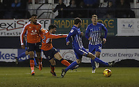 Luke Gambin of Luton Town doubles his sides lead during the Sky Bet League 2 match between Luton Town and Hartlepool United at Kenilworth Road, Luton, England on 14 March 2017. Photo by Liam Smith.