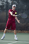 April 23, 2015; San Diego, CA, USA; Loyola Marymount Lions tennis player Luke Bohuslav during the WCC Tennis Championships at Barnes Tennis Center.