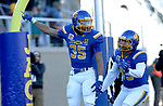 BROOKINGS, SD - DECEMBER 9: Isaac Wallace #35 from South Dakota State University celebrates a touchdown with teammate Skyler Cavanaugh #43 against the University of New Hampshire during their FCS quarterfinal game Saturday afternoon at Dana J. Dykhouse Stadium in Brookings, SD. (Photo by Dave Eggen/Inertia)