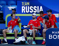 7th January 2020; RAC Arena, Perth, Western Australia; ATP Cup Australia, Perth, Day 5; Russia versus Norway; Team Russia during the doubles against Norway - Editorial Use