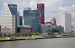 Waterfront high rise office and apartment blocks, Rotterdam, South Holland, Netherlands
