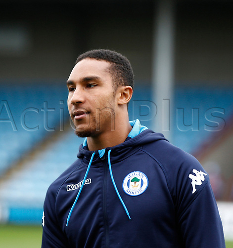 7th October 2017, Glanford Park, Scunthorpe, England; EFL League One football, Scunthorpe versus Wigan; Terell Thomas of Wigan Athletic warms up
