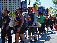 Cleveland, OH - July 19, 2016: Members of the Revolutionary Communist Party enter the Public Square in downtown Cleveland, Ohio during the Republican National Convention, July 19, 2016.  (Photo by Don Baxter/Media Images International)