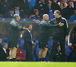 Ally McCoist and Kenny McDowall argue with the officials after no penalty was awarderd to Rangers