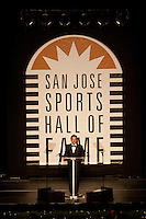 Randy Hahn is the Master of Ceremonies for the San Jose Sports Hall of Fame induction ceremony at the HP Pavilion on Nov. 14, 2012.