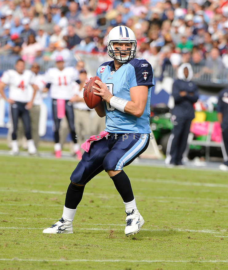 MATT HASSELBECK, of the Tennessee Titans, in action during the Titans game against the Houston Texans on October 23, 2011 at LP Field in Nashville, TN. The Texans beat the Titans 41-7.