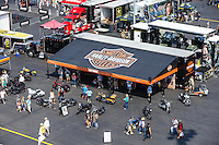 Sep 16, 2016; Concord, NC, USA; Overall view of the Harley Davidson display on the midway in the NHRA pits during qualifying for the Carolina Nationals at zMax Dragway. Mandatory Credit: Mark J. Rebilas-USA TODAY Sports