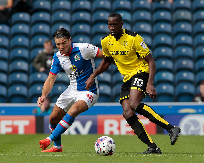 Blackburn Rovers' Ben Marshall battles with Burton Albion's Lucas Akins<br /> <br /> Photographer David Shipman/CameraSport<br /> <br /> Football - The EFL Sky Bet Championship - Blackburn Rovers v Burton Albion - Saturday 20 August 2016 - Ewood Park - Blackburn<br /> <br /> World Copyright &copy; 2016 CameraSport. All rights reserved. 43 Linden Ave. Countesthorpe. Leicester. England. LE8 5PG - Tel: +44 (0) 116 277 4147 - admin@camerasport.com - www.camerasport.com
