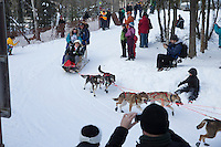 Spectators watch Angie Taggart round the bend at the Goose Lake turn during the ceremonial start of the Iditarod sled dog race Anchorage Saturday, March 2, 2013. ..Photo (C) Jeff Schultz/IditarodPhotos.com  Do not reproduce without permission