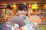 "October 1, 2018, Tokyo, Japan - Japan's lottery campaign girl Saho Shintake displays sample tickets as she attends a promotional event of ""Halloween Jumbo Lottery"" as the first tickets go on sale in Tokyo on Monday, October 1, 2018.   (Photo by Yoshio Tsunoda/AFLO) LWX -ytd-"