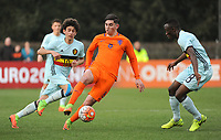 20170314 - UDEN , NETHERLANDS : Dutch Dogucan Haspolat (M) with Belgian Theo Leoni (L) and Mohamed Loua (R) pictured during the UEFA Under 17 Elite round game between The Netherlands U17 and Belgium U17, on the first matchday in group 5 of the Uefa Under 17 elite round in The Netherlands , tuesday 14 th March 2017 . PHOTO SPORTPIX.BE | DIRK VUYLSTEKE
