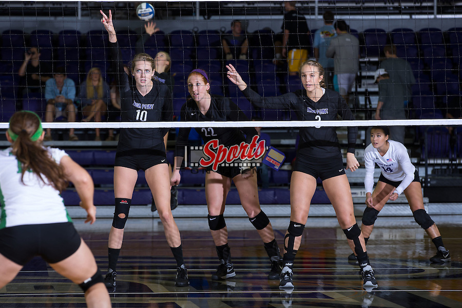 Savannah Angel (10), Molly Livingston (22) and Abby Broadstreet (3) of the High Point Panthers during the match against the Marshall Thundering Herd at the Panther Invitational at the Millis Athletic Center on September 12, 2015 in High Point, North Carolina.  The Thundering Herd defeated the Panthers 3-2.   (Brian Westerholt/Sports On Film)