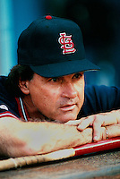 St.Louis Cardinals Manager Tony LaRussa during a game at Dodger Stadium in Los Angeles, California during the 1997 season.(Larry Goren/Four Seam Images)