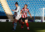 Maddy Cusack of Sheffield Utd tackles Nadine Hanssen of Aston Villa during the The FA Women's Championship match at the Proact Stadium, Chesterfield. Picture date: 12th January 2020. Picture credit should read: Simon Bellis/Sportimage