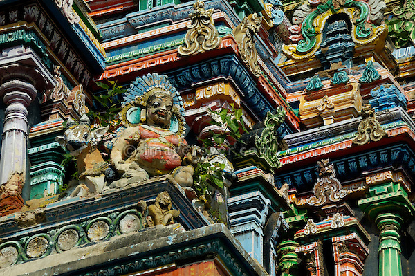 Stucco work on on the North Tower of the Sri Minakshi Temple in Madurai. India, Tamil Nadu, Madurai.