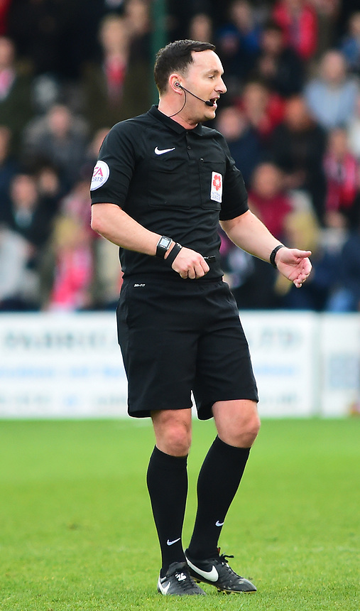 Referee Joseph Johnson<br /> <br /> Photographer Andrew Vaughan/CameraSport<br /> <br /> Vanarama National League - Lincoln City v Torquay United - Friday 14th April 2016  - Sincil Bank - Lincoln<br /> <br /> World Copyright &copy; 2017 CameraSport. All rights reserved. 43 Linden Ave. Countesthorpe. Leicester. England. LE8 5PG - Tel: +44 (0) 116 277 4147 - admin@camerasport.com - www.camerasport.com