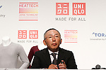 August 25, 2011, Tokyo, Japan - Tadashi Yanai, chief executive officer of Japans Fast Retailing Co., projects global sales of revolutionary Heattech innerwear during a news conference in Tokyo on Thursday, August 25, 2011. Casual clothing store chain Uniqlo Co., a core unit of Fast Retailing, said it is aiming for 25% growth in sales volume globally for its Heattech line of thermal underwear this winter. Uniqlo and Toray Industries Inc., the nation's biggest synthetic fiber maker, have formed a strategic partnership under which they jointly develop new products and materials, with Heattech one successful example of their collaboration. Since Uniqlo started marketing Heattech products, cumulative sales to date total 199 million items. (Photo by AFLO) [3609] -mis-