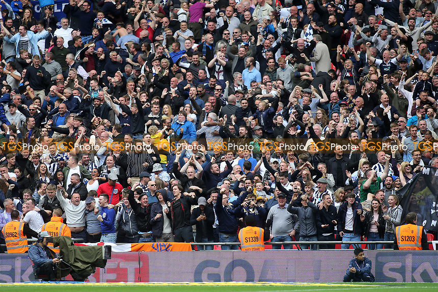 Millwall fans celebrate their winning goal during Bradford City vs Millwall, Sky Bet EFL League 1 Play-Off Final at Wembley Stadium on 20th May 2017