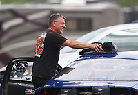 Apr 14, 2019; Baytown, TX, USA; NHRA mountain motor pro stock driver Scott Benham during the Springnationals at Houston Raceway Park. Mandatory Credit: Mark J. Rebilas-USA TODAY Sports