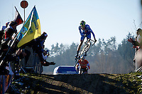 first bump, first jump<br /> by Jakub Skala (CZE)<br /> <br /> Men U23 race<br /> <br /> 2015 UCI World Championships Cyclocross <br /> Tabor, Czech Republic