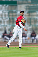 Fort Wayne TinCaps third baseman Tucupita Marcano (15) throws to first base during a Midwest League game against the Fort Wayne TinCaps at Parkview Field on April 30, 2019 in Fort Wayne, Indiana. Kane County defeated Fort Wayne 7-4. (Zachary Lucy/Four Seam Images)