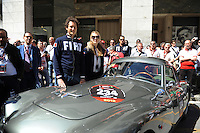 1000 MIGLIA 2012 JOHN ELKANN NELLA FOTO JOHN ELKANN CON LA MOGLIE LAVINIA BORROMEO ALLA 1000 MIGLIA BRESCIA 17/05/2012 FOTO MATTEO BIATTA<br /> <br /> 1000 MIGLIA 2012 JOHN ELKANN IN THE PICTURE JOHN ELKANN WITH HIS WIFE LAVINIA BORROMEO AT THE 1000 MIGLIA HISTORICAL RACE BRESCIA 17/05/2012 PHOTO BY MATTEO BIATTA