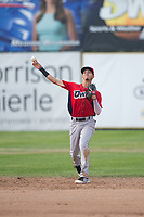 Orem Owlz shortstop Livan Soto (7) throws to first base during a Pioneer League game against the Missoula Osprey at Ogren Park Allegiance Field on August 19, 2018 in Missoula, Montana. The Missoula Osprey defeated the Orem Owlz by a score of 8-0. (Zachary Lucy/Four Seam Images)