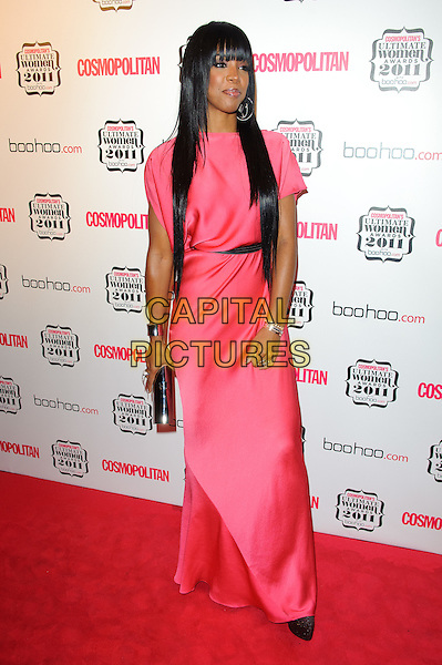 Kelly Rowland.Cosmopolitan Ulimate Women Of The Year Awards, Banqueting House, Whitehall, London, England..November 3rd, 2011.full length pink silk satin dress black belt hair extensions shoes clutch bag maxi.CAP/CJ.©Chris Joseph/Capital Pictures.