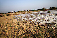 Flood water inundates the surrounding area after Manchar Lake bursts its banks. Officials  made a breach in the lake's embankments to direct water away from the nearby cities of Dadu and Sehwan, in Sindh Province, Pakistan.