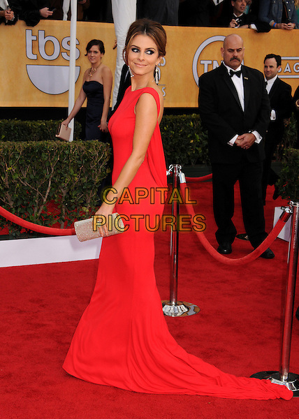 Maria Menounos.Arrivals at the 19th Annual Screen Actors Guild Awards at the Shrine Auditorium in Los Angeles, California, USA..27th January 2013.SAG SAGs full length red dress gold clutch bag side train  .CAP/ADM/BP.©Byron Purvis/AdMedia/Capital Pictures