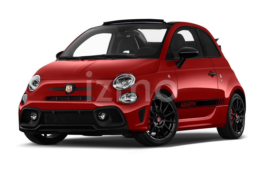 Stock pictures of low aggressive front three quarter view of a 2018 Abarth 595 C Competizione 2 Door Convertible