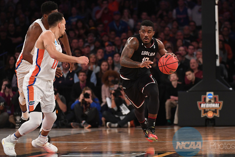 NEW YORK, NY - MARCH 26: Duane Notice #10 of the South Carolina Gamecocks during a game against the Florida Gators during the 2017 NCAA Men's Basketball Tournament held at Madison Square Garden on March 26, 2017 in New York City. (Photo by Justin Tafoya/NCAA Photos via Getty Images)