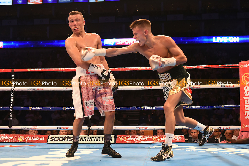 Charlie Edwards (white/gold shorts) defeats Louis Norman to win the English Flyweight title during a Boxing show at the O2 Arena, London