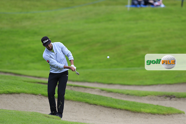 Rafa Cabrera-Bello (ESP) chips onto the 18th green during Saturday's Round 3 of the 2016 Dubai Duty Free Irish Open hosted by Rory Foundation held at the K Club, Straffan, Co.Kildare, Ireland. 21st May 2016.<br /> Picture: Eoin Clarke   Golffile<br /> <br /> <br /> All photos usage must carry mandatory copyright credit (&copy; Golffile   Eoin Clarke)